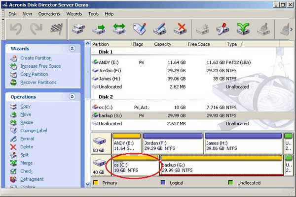 Disk Director main window