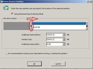 Shrink data partition