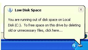 Low disk space XP