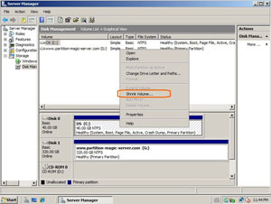 Shrink Windows 2008 partition