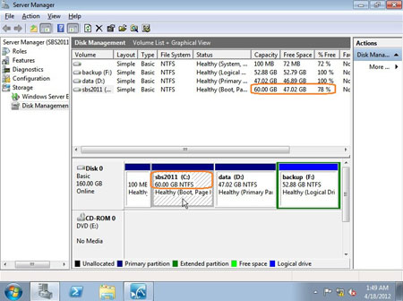SBS 2011 disk management
