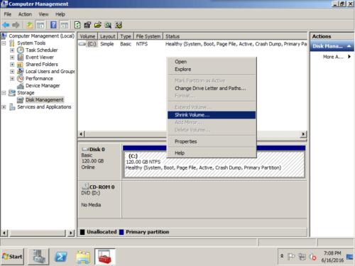 2008 disk management
