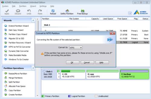 Convertir en NTFS
