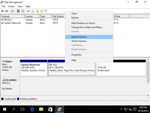 windows 10 how to add unallocated space to drive