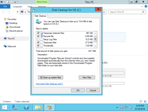 Disk Cleanup 2012