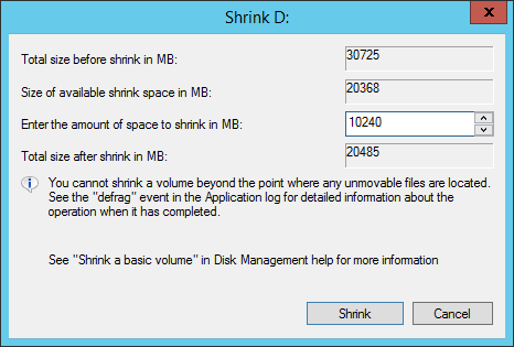 Shrink drive D